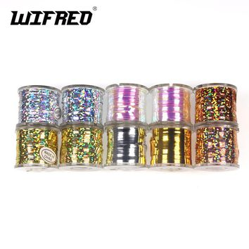 Wifreo 1Spool Fly Tying Tinsel Flash Tape Pearl Holographic Orange Gold Silver Streamer Teaser Fly Tying Material