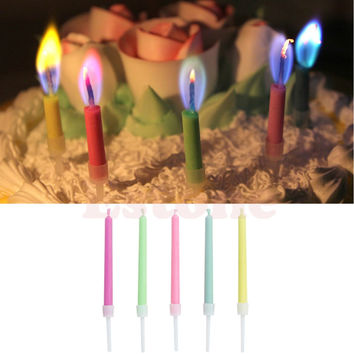 A81 2016   newest    5pcs Colored Candles Safe Flames Birthday Party Cake Decorations   free  shipping