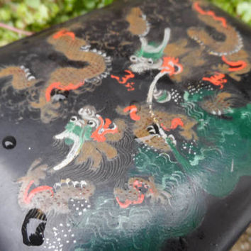 Antique / Vintage Chinese laquer - papier mache lidded box with dragon chasing pear; hand painted decoration - old Chinese black laquer box