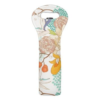 Modern Rose Peony Flower Pattern Wine Bag
