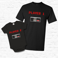 Father Child Player 1 Matching Set T-shirt Tshirt Tee Baby Bodysuit Cute Fathers day Gift Set for Dad Gamers Nerd Controllers NES TF-134-135