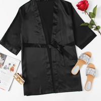 Self Tie Satin Robe -SheIn(Sheinside)