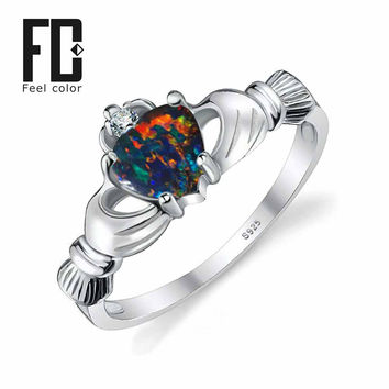 Black Fire Opal Multicolor Irish Claddagh Rainbow Ring Solid 925 Sterling Silver Love Heart Gemstone Jewelry October Birthstone
