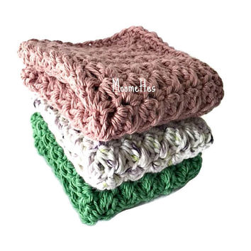 Handmade Dish Cloths Rose Green Lilac Purple White Wash Cloths Crochet Kitchen Dishcloths Eco Friendly Cotton Shabby Set of 3