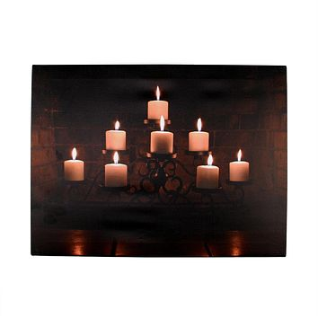 "LED Lighted Flickering Rustic Lodge Fireplace Candles Canvas Wall Art 11.75"" x 15.75"""
