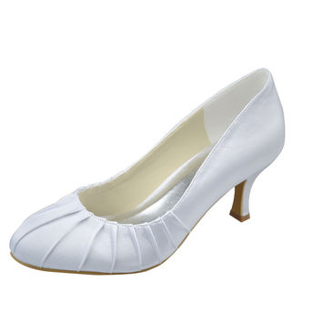 Real Made White low Heel Close Toe Simple Satin Wedding Shoes S70