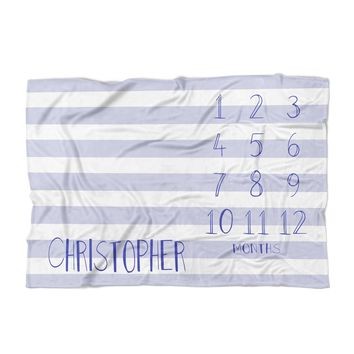Baby Milestone Blanket - Stripes - Personalized Baby Blanket - Track Growth and Age - New Mom Baby Shower Gift - Blue and White