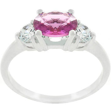 Oval Treble Cubic Zirconia Ring, size : 05