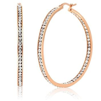 """2"""" Stainless Steel Rose Gold Plated High Shine Inside-Out Hoop Earrings With CZ"""