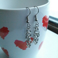Byzantine Chainmaille Earrings - Silver Tone