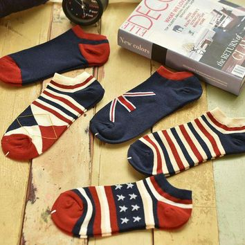 ONETOW Day-First? Unisex 5pcs Striped Stars Socks