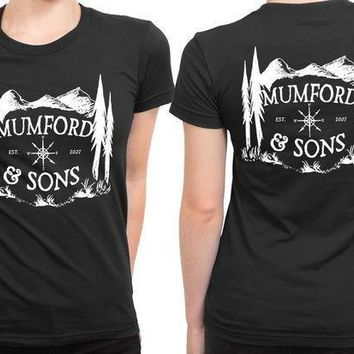 Mumford And Sons Logo Est Mountain Background 2 Sided Womens T Shirt
