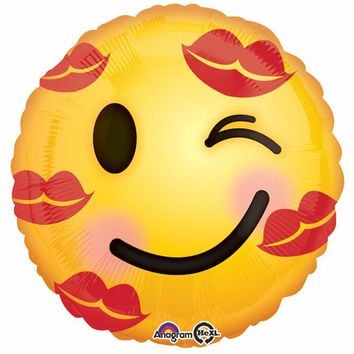 Love and Kisses Emoticon Helium Balloon - 17""