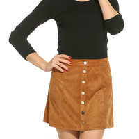 Casual Faux Suede Button Closure A-line Slim Skirt