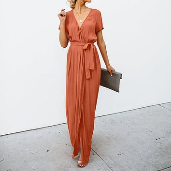 Sexy Deep V-neck Casual Maxi Dresses Lady Party Evening Long Wrap Sun Dress Sundress Women Beach Dress vestidos robe vestir #SW