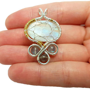 FREE SHIPPING Tolkien inspired wire wrap tree pendant, Trees of Valinor, Silmarillion, Laurelin and Telperion