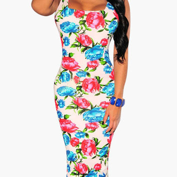 Foral Print Sleeveless Square Neckline and Low Back Bodycon Midi Dress