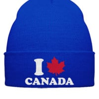 I LOVE CANADA EMBROIDERY HAT  - Beanie Cuffed Knit Cap