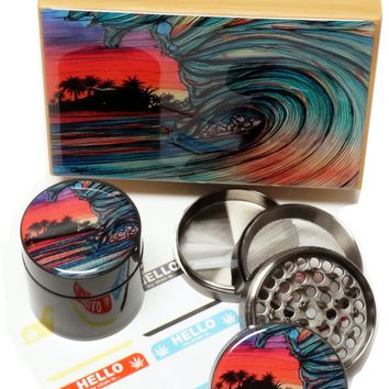 """BRAND NEW ITEM!  - Throwing Wave - Stash Box Combo - MEDIUM SIZE - 4 Part Grinder - 2.5"""" - UV Glass jar with labels"""