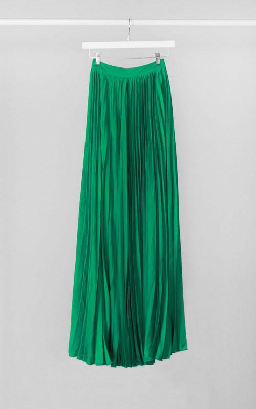 Emerald maxi tank dress pleated skirt