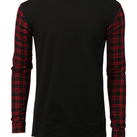 LE3NO Mens Casual Round Neck Plaid Flannel Long Sleeve Pullover Shirt Top
