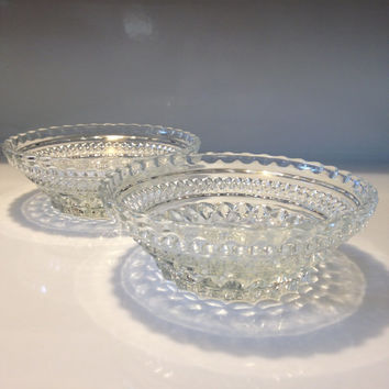 Anchor Hocking Wexford Berry Bowls Diamond Point Design Set of Two Vintage Pressed Glass 1970s