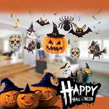 Ghost Bat Spider Pumpkin Witch Pendant Haunted House Drop Bar KTV Room Decorative Paper Hanging Ornament Halloween Decoration