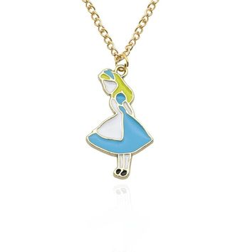 Hot Movie Alice In Wonderland Jewelry Beautiful Girl Charm Pendant Sweet Enamel Cartoon Choker Necklace Women Colar Dropshipping