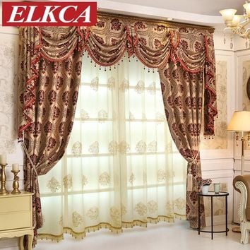 European Luxury Jacquard Blackout Curtains for Bedroom Luxury Curtains for Living Room Window Curtains Luxury Drapes