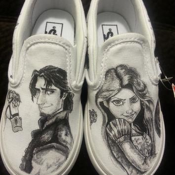 WRAPAROUND Disney's Tangled Custom Made Shoes in YOUTH size. Artwork and Shoes (Vans)