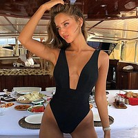 Sexy Deep V One Piece Swimsuit Women Solid Swimwear Backless Bodysuit Swimsuit Bathing Suits