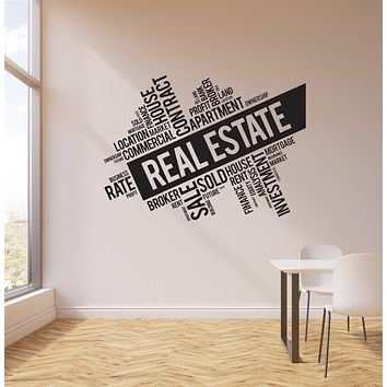 Vinyl Wall Decal Real Estate Broker Words Cloud Interior Art Stickers Mural (ig5733)