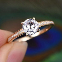 6.5mm Round Shaped Cut Moissanite Engagement Ring with Diamond Wedding Band Solid 14K yellow Gold classic design