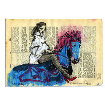 giostra horse original Hand Painting mixed media by VincenzoRizzo