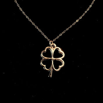 14K Gold Filled Lucky Four Leaf Clover Necklace by Tickle Bug Jewelry! Good Luck Necklace. Irish necklace, St. Patrick's Neckace, Graduation