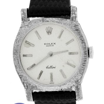 Ladies Vintage Rolex Cellini Geneve 3800 26mm 18K White Gold Leather Watch