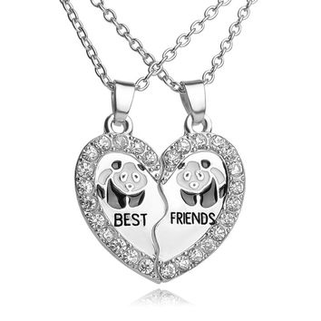 Panda Best friends BFF Necklaces For 2 Animal Black White Enamel Bestfriends Necklace Rhinestone Heart Friendship Jewelry