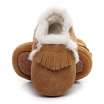 New style Winter with fur boots Baby girls shoes handmade Toddler Genuine Leather hard sole first walkers baby Suede Shoes 0-2Y