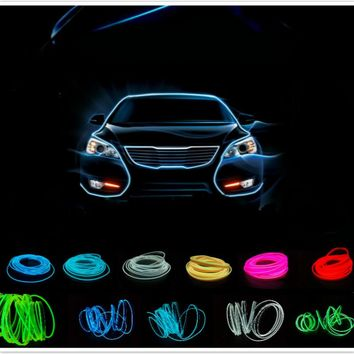 2.3mm 5M Auto Interior LED EL Flexible Wire Rope Tube Neon Light Line 10 Colors with 12V car Inverter controller Free Shipping