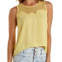 Yellow Embroidered Mesh & Chiffon Tank Top by Charlotte Russe