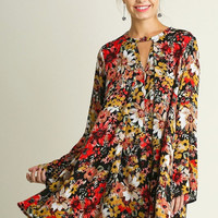 Crazy in Love Floral Keyhole Tunic Dress {Black Mix}