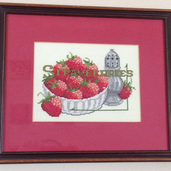 Strawberry Handmade Vintage Framed Cross Stitch-1970's