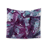 "Ebi Emporium ""Birds of Prey - Aqua Purple"" Blue Lavender Wall Tapestry"