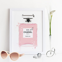 COCO CHANEL PERFUME,Chanel No5 Paris,Fashion Illustration,Original Chanel Perfume Bottle,Perfume Illustration,Birthday Gift,Gift For Wife