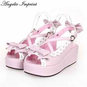 Japanese Sweet Lolita Cosplay Strappy Sandals Lovely Bowknot & Lace Trim Platfrom Wedge Girls Summer Shoes
