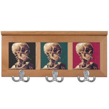 "A Coat Racks featuring the vintage painting ""Skull of a Skeleton with Burning Cigarette"" by Van Gogh"