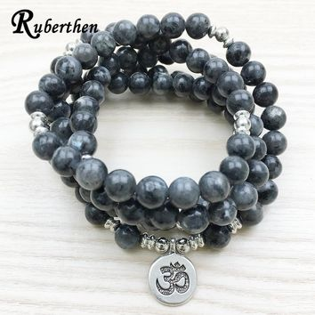 Labradorite 108 Mala Bead Wrap Bracelet with Buddha, Lotus or Ohm Charm Ruberthen