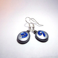 World of Warcraft WoW Hearthstone Polymer Clay Gamer Earrings, Silver Toned, Silver Plated, 22k Gold Plated, Hypoallergenic.