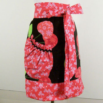 Woman's Towel Apron--Cherries with Red Floral -Made in the USA--#133-Ready to Ship