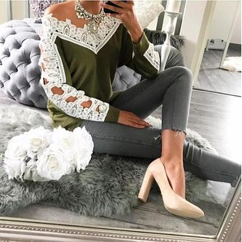 Lace Green Stitching Casual Long-Sleeved Bottom Shirt